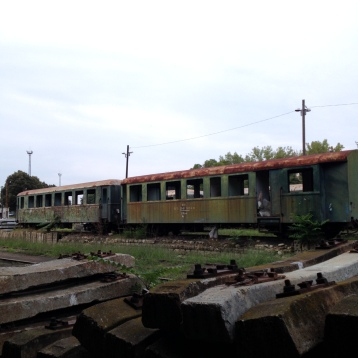Old Trains. Rotting on the tracks just outside a Roma Settlement in Nyireyghaza Hungary.