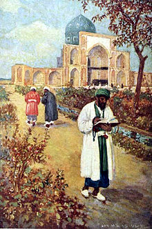 At the tomb of Omar Khayyam. (A painting by Jay Hambridge).