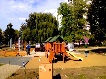 A newly erected playground about 15 minutes outside of Gusev. Residents of the settlement suspect that E..U. funds meant to help with Roma integration are being diverted to non-Roma neighborhoods.