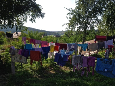 """It takes a very long time to wash and dry clothes for five children, in the winter, with no heat or electricity. But spring and fall are not as bad with sunlight."""