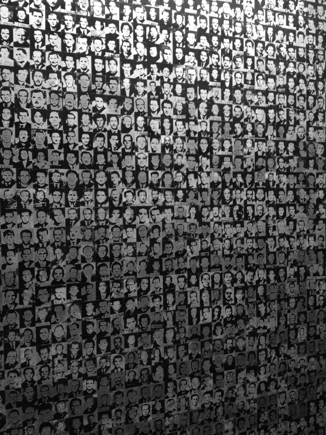 Victims Wall, museum's opening foyer. Hundreds were tortured and killed here by the Arrow Cross, and hundreds more by the Soviet Communist Party.